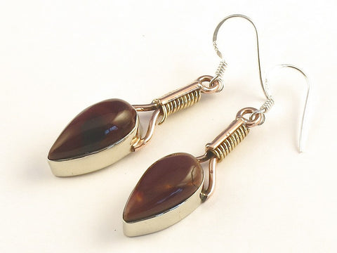 Design 115671 Lovely Pear Mookaite .925 Sterling Silver Jewelry Earrings 2""