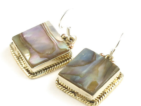 Design 115681 Handmade Square Paua Shell .925 Sterling Silver Jewelry Earrings 1 1/4""