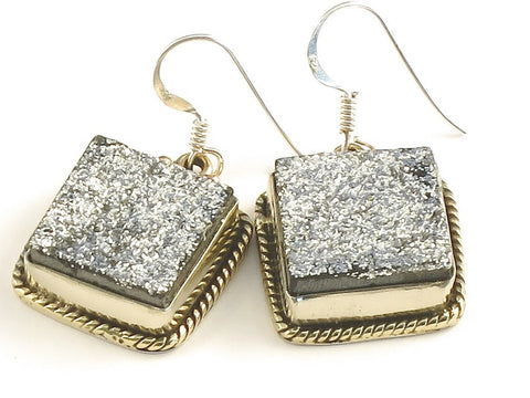 Design 115694 Shimmering Square Silver Drusy .925 Sterling Silver Jewelry Earrings 1 1/4""
