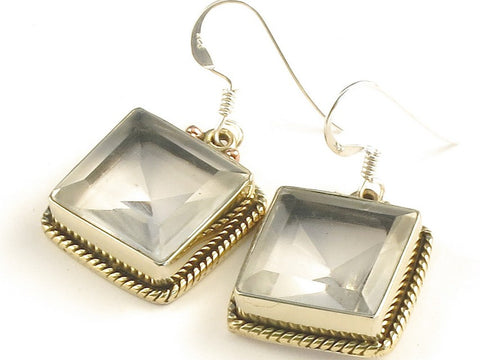 Design 115725 Artistic Square White Topaz .925 Sterling Silver Jewelry Earrings 1 1/4""