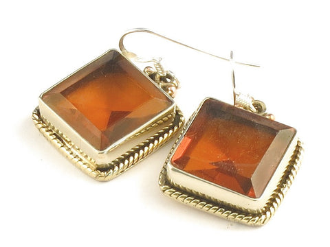 Design 115737 Wholesale Square Golden Topaz .925 Sterling Silver Jewelry Earrings 1 1/4""