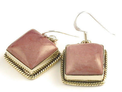 Design 115762 Original Square Mookaite .925 Sterling Silver Jewelry Earrings 1 1/4""