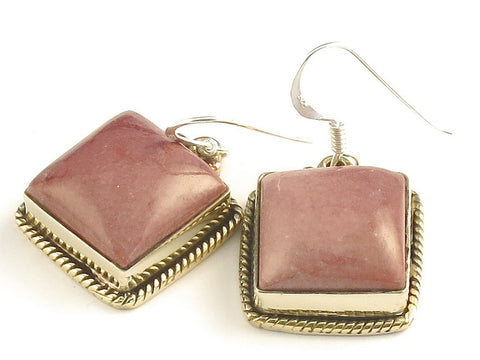 Design 115765 Handmade Square Mookaite .925 Sterling Silver Jewelry Earrings 1 1/4""