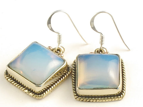 Design 115769 Premier Designs Square Opalite .925 Sterling Silver Jewelry Earrings 1 1/4""