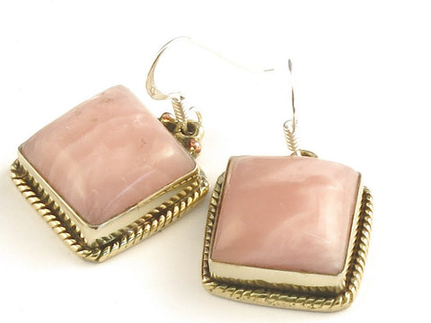 Design 115780 Handcrafted Square Rhodocrosite .925 Sterling Silver Jewelry Earrings 1 1/4""