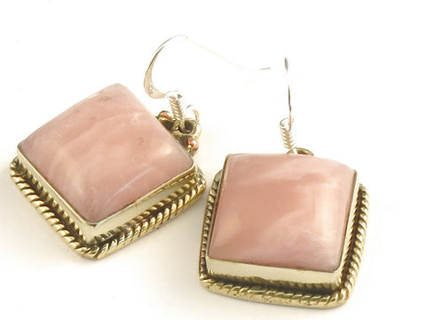 Design 115783 Original Square Rhodocrosite .925 Sterling Silver Jewelry Earrings 1 1/4""