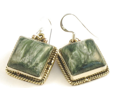 Design 115807 Handmade Square Seraphinite .925 Sterling Silver Jewelry Earrings 1 1/4""