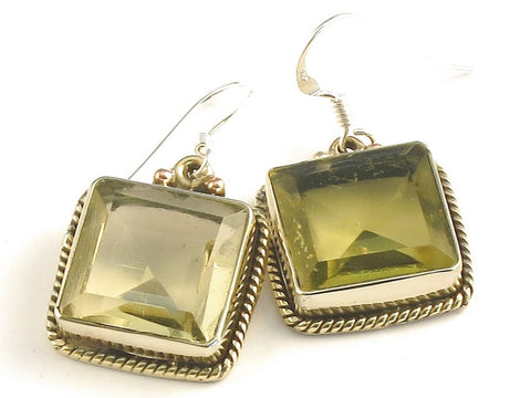 Design 115817 Jewelry Closeout Square Lemon Topaz .925 Sterling Silver Jewelry Earrings 1 1/4""
