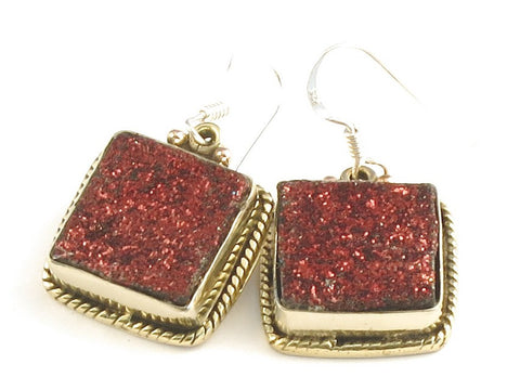 Design 115818 Lovely Square Pink Drusy .925 Sterling Silver Jewelry Earrings 1 1/4""