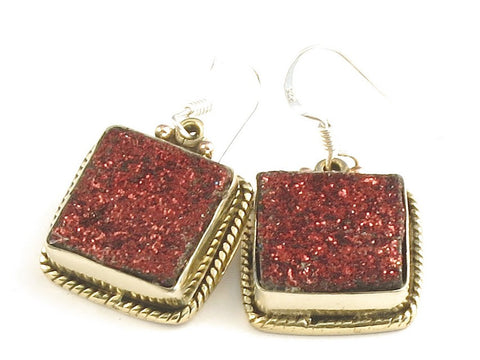 Design 115820 Shimmering Square Pink Drusy .925 Sterling Silver Jewelry Earrings 1 1/4""