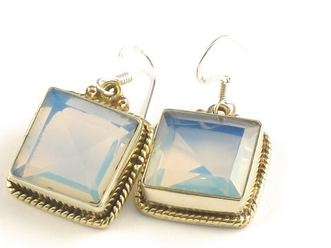 Design 115830 Artistic Square Opalite .925 Sterling Silver Jewelry Earrings 1 1/4""