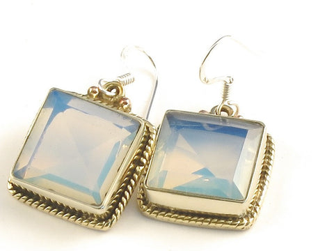 Design 115832 Premier Designs Square Opalite .925 Sterling Silver Jewelry Earrings 1 1/4""