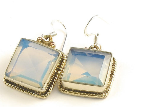 Design 115834 Premium Square Opalite .925 Sterling Silver Jewelry Earrings 1 1/4""