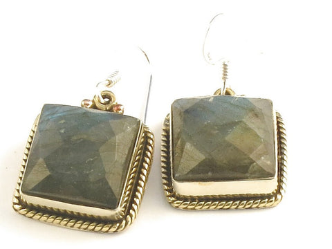 Design 115844 Artisan Jewelry Square Labradorite .925 Sterling Silver Jewelry Earrings 1 1/4""