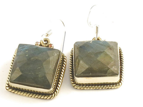 Design 115846 Original Square Labradorite .925 Sterling Silver Jewelry Earrings 1 1/4""