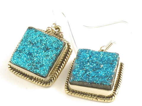 Design 115851 Artistic Square Blue Drusy .925 Sterling Silver Jewelry Earrings 1 1/4""