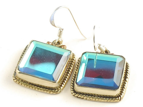 Design 115877 Exotic Square Blue Rainbow Mysterious .925 Sterling Silver Jewelry Earrings 1 1/4""