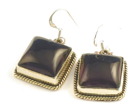 Design 115901 Jewelry Closeout Square Purple Amethyst .925 Sterling Silver Jewelry Earrings 1 1/4""