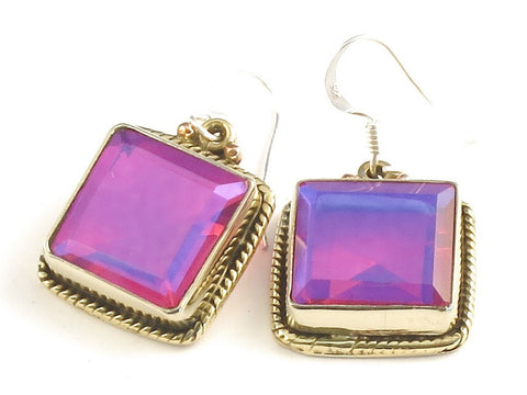 Design 115903 Glistening Square Pink Rainbow Mysterious .925 Sterling Silver Jewelry Earrings 1 1/4""