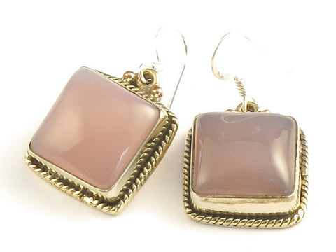 Design 115907 Artisan Jewelry Square Rose Quartz .925 Sterling Silver Jewelry Earrings 1 1/4""