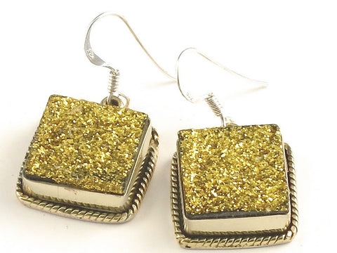 Design 115913 Made By Hand Square Gold Drusy .925 Sterling Silver Jewelry Earrings 1 1/4""