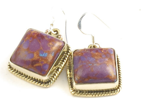 Design 115920 Special Square Purple Copper Turquoise .925 Sterling Silver Jewelry Earrings 1 1/4""