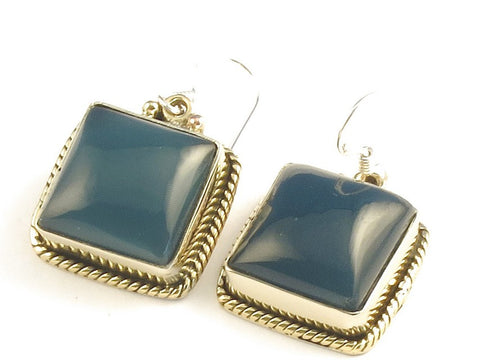 Design 115931 Unique Square Iolite .925 Sterling Silver Jewelry Earrings 1 1/4""