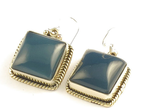 Design 115933 Handmade Square Iolite .925 Sterling Silver Jewelry Earrings 1 1/4""