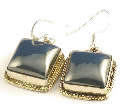 Design 115958 Premier Designs Square Hematite .925 Sterling Silver Jewelry Earrings 1 1/4""