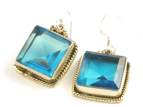 Design 115959 Fair Trade Square Blue Fluorite .925 Sterling Silver Jewelry Earrings 1 1/4""