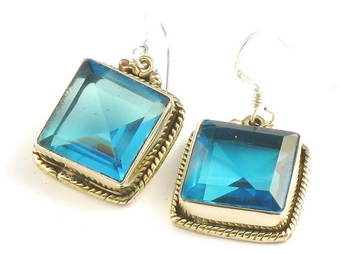 Design 115962 Special Square Blue Fluorite .925 Sterling Silver Jewelry Earrings 1 1/4""
