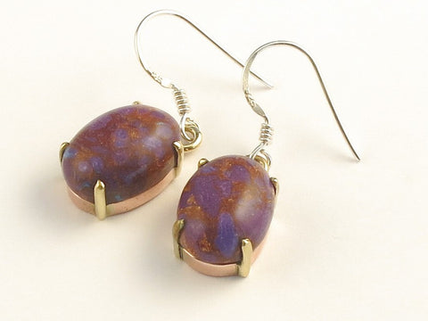 Design 115973 Unique Oval Purple Copper Turquoise .925 Sterling Silver Jewelry Earrings 1 3/8""