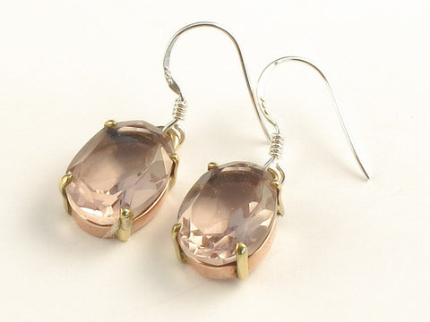 Design 116009 Shimmering Oval Pink Amethyst .925 Sterling Silver Jewelry Earrings 1 3/8""