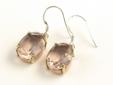 Design 116011 Handcrafted Oval Pink Amethyst .925 Sterling Silver Jewelry Earrings 1 3/8""