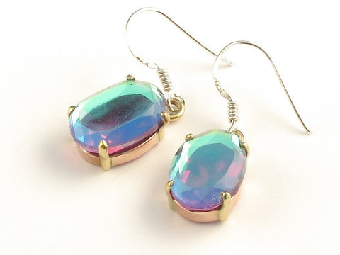 Design 116018 Made By Hand Oval Rainbow Mysterious .925 Sterling Silver Jewelry Earrings 1 3/8""