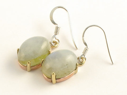 Design 116028 Lovely Oval Green Rainbow Moonstone .925 Sterling Silver Jewelry Earrings 1 3/8""