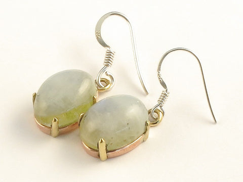 Design 116029 Glistening Oval Green Rainbow Moonstone .925 Sterling Silver Jewelry Earrings 1 3/8""