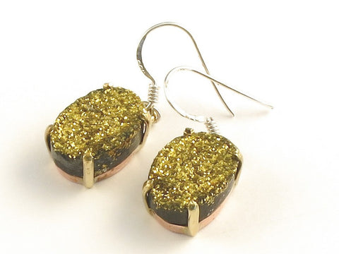 Design 116030 Shimmering Oval Gold Drusy .925 Sterling Silver Jewelry Earrings 1 3/8""