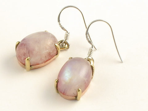 Design 116039 Made By Hand Oval Pink Rainbow Moonstone .925 Sterling Silver Jewelry Earrings 1 3/8""
