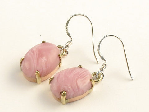 Design 116060 Made By Hand Oval Rhodocrosite .925 Sterling Silver Jewelry Earrings 1 3/8""