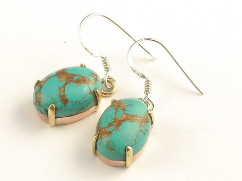 Design 116063 Premier Designs Oval Blue Turquoise .925 Sterling Silver Jewelry Earrings 1 3/8""