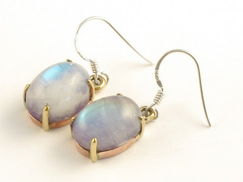 Design 116070 Lovely Oval Purple Rainbow Moonstone .925 Sterling Silver Jewelry Earrings 1 3/8""