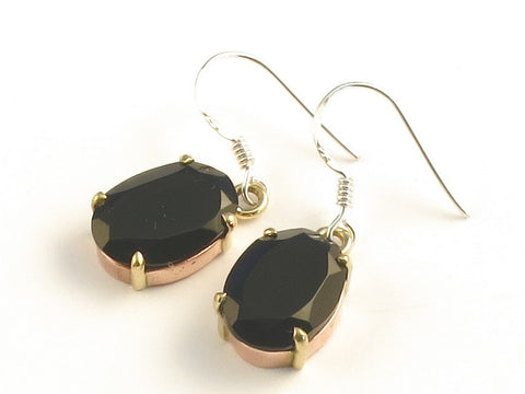 Design 116072 Shimmering Oval Black Onyx .925 Sterling Silver Jewelry Earrings 1 3/8""