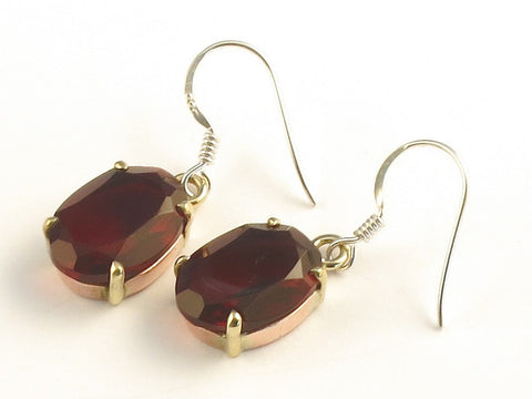 Design 116081 Made By Hand Oval Garnet .925 Sterling Silver Jewelry Earrings 1 3/8""