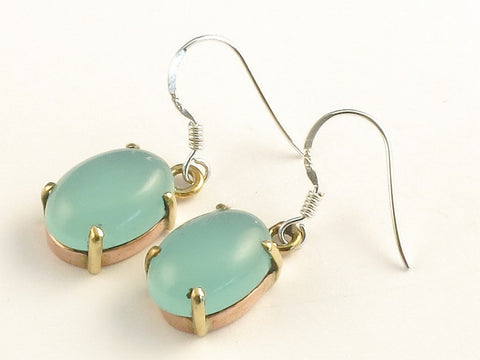 Design 116085 Fair Trade Oval Aquamarine .925 Sterling Silver Jewelry Earrings 1 3/8""