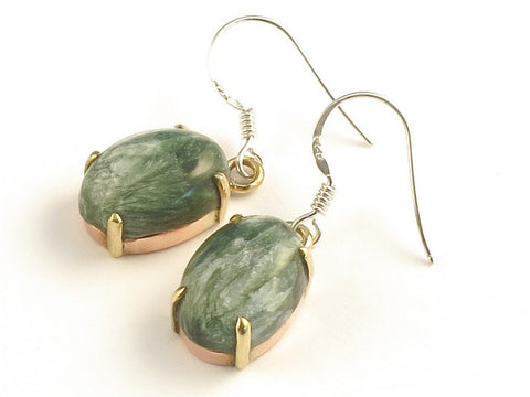 Design 116090 Jewelry Closeout Oval Seraphinite .925 Sterling Silver Jewelry Earrings 1 3/8""