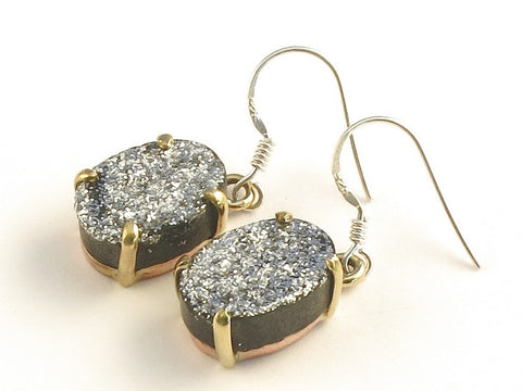 Design 116123 Made By Hand Oval Silver Druzy .925 Sterling Silver Jewelry Earrings 1 3/8""