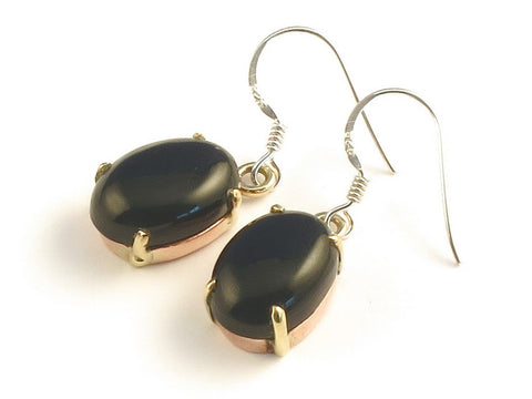 Design 116125 Fancy Oval Black Onyx .925 Sterling Silver Jewelry Earrings 1 3/8""