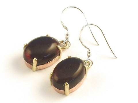 Design 116134 Glistening Oval Garnet .925 Sterling Silver Jewelry Earrings 1 3/8""