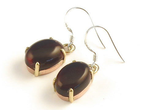 Design 116138 Artisan Jewelry Oval Garnet .925 Sterling Silver Jewelry Earrings 1 3/8""